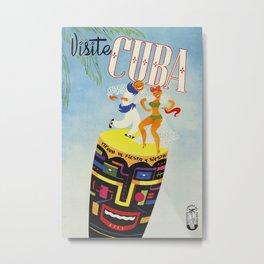 Visit Cuba - Vintage Caribbean Travel Poster Metal Print