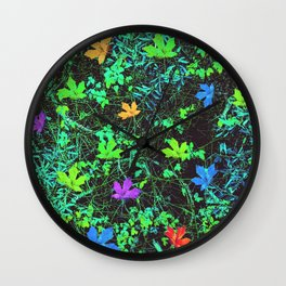 maple leaf in pink blue green orange with green creepers plants Wall Clock