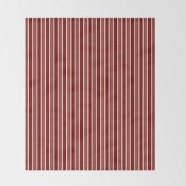 Vintage New England Shaker Village Milk Paint Barn Red Small Vertical Bedding Stripe Throw Blanket