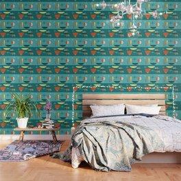 Turquoise Mid Century Modern Wallpaper