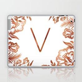 Letter V - Faux Rose Gold Glitter Flowers Laptop & iPad Skin