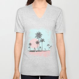 Beachfront palm tree soft pastel sunset graphic Unisex V-Neck