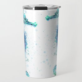 Blue Turquoise Watercolor Seahorse Travel Mug
