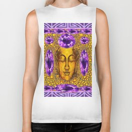 ART NOUVEAU AMETHYST PURPLE & GOLD BUDDHA ABSTRACT Biker Tank