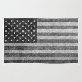 American flag - retro style in grayscale Rug