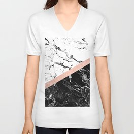 Modern black white marble color block rose gold Unisex V-Neck