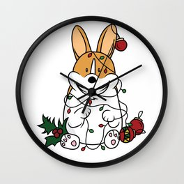 Naughty Christmas Corgi Wall Clock