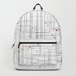 Colorful abstract geometric pattern with color dots Backpack