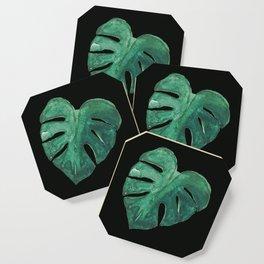 Monstera Leaf on Black Coaster
