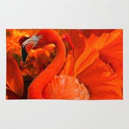 Tropical Saffron Flamingo Orange Floral Fantasy Painting Rug