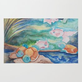 Pond With Squirtle And Goldeen Rug