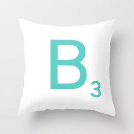Custom Blue Scrabble Letter B Throw Pillow