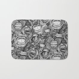 BITE ME roses and orchids BLACK WHITE Bath Mat