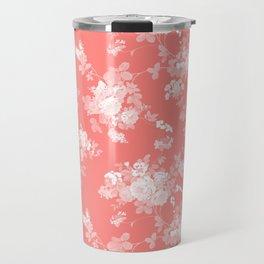 Vintage elegant coral white bohemian floral Travel Mug