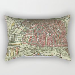 Vintage Color Map of Amsterdam, 1685 Rectangular Pillow