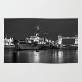 HMS Belfast in Black and White Rug