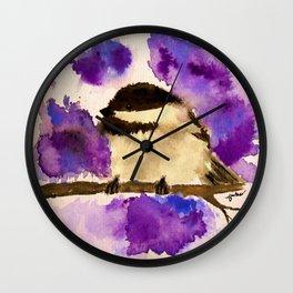 Chickadee Bird Watercolor Print Wall Clock