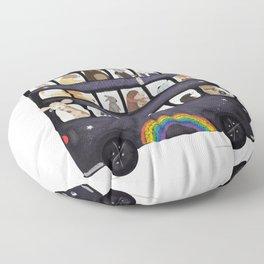 the rainbow bus Floor Pillow