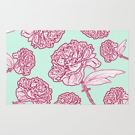 Barbed Wire Peony Floral in Coral Pink & Aqua Rug