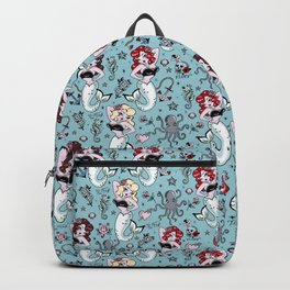 Molly Mermaid vintage pinup inspired nautical tattoo Backpack