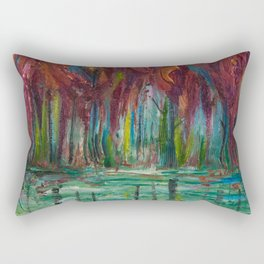 Red Trees Thick Impasto Abstract  Painting Rectangular Pillow