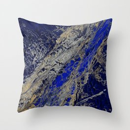 Blue Cracks Throw Pillow