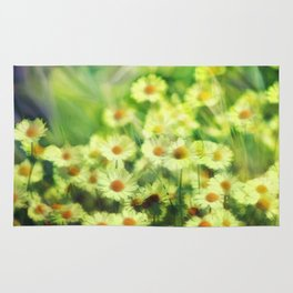 """Spring of daisies, green and sunlight"" Rug"