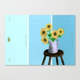 Sunflowers on Blues Canvas Print