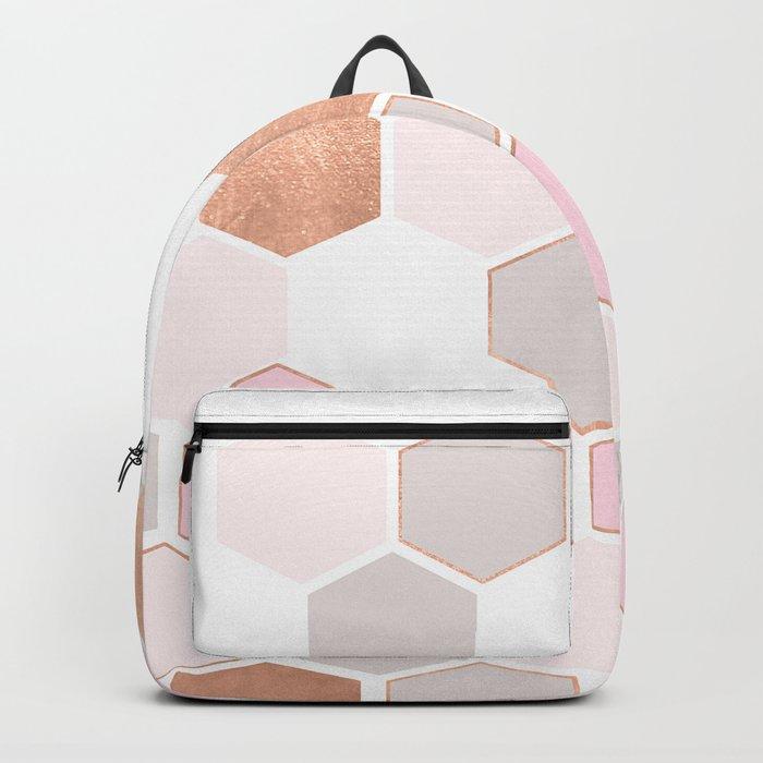 GEO HEXAGON ROSEGOLD PASTEL Backpack