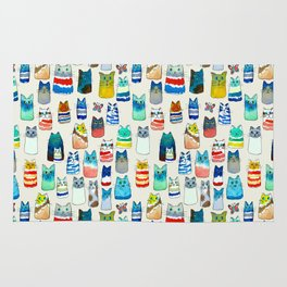 Lots of Watercolor Kitty Cats Rug