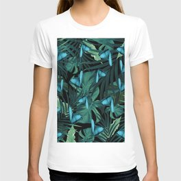 Tropical Butterfly Jungle Night Leaves Pattern  5  tropical  decor  art   society6 892393dd8