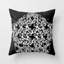 Curlicues Pentagon Black and White Pattern Throw Pillow
