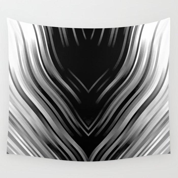 stripes wave pattern 3 bwii Wall Tapestry