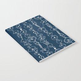 poppy vines on navy Notebook