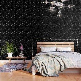 Scattered Stars - white on black Wallpaper
