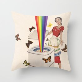 Rainbow Washing Machine Throw Pillow