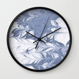 Setsuko - spilled ink marble abstract watercolor painting marbling japanese wave pattern Wall Clock