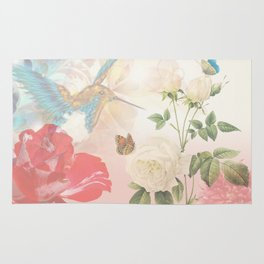 Hummingbird & Flowers Nature Collage Rug