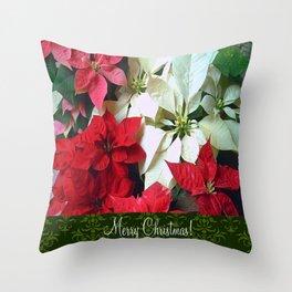 Mixed color Poinsettias 1 Merry Christmas S6F1 Throw Pillow