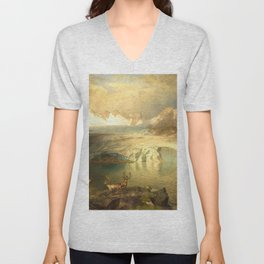 Fjord Landscape with Glacier and Reindeer Unisex V-Neck