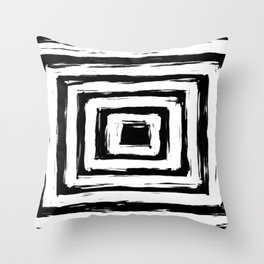 Minimal Black and White Square Rectangle Pattern Throw Pillow
