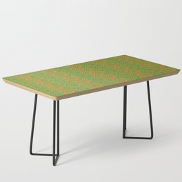 op art pattern retro circles in green and orange Coffee Table