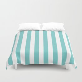 Vertical Aqua Stripes Duvet Cover