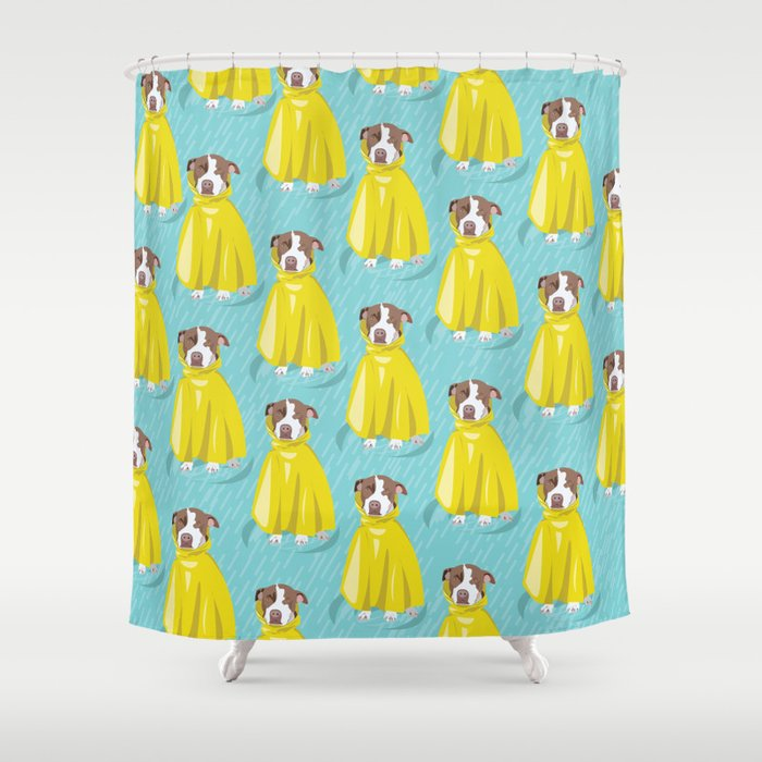 pit bull in rain coat Shower Curtain