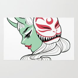 Kitsune Mask and Oni Girl (Japanese Demon) Rug