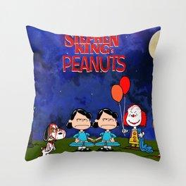 KING's PEANUTS HORROR MOVIE MASHUP Throw Pillow