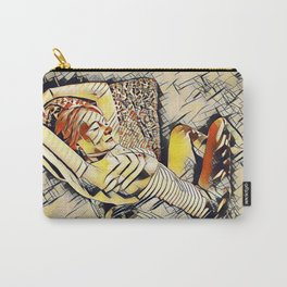 4248s-JG Beautiful Jessica Striped Nude Erotica in the Style of Kandinsky Carry-All Pouch