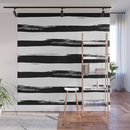 Stylish Black and White Stripes Wall Mural