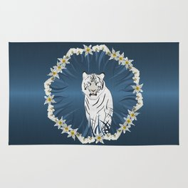 White Tiger with Orchid Grass Wreath Rug