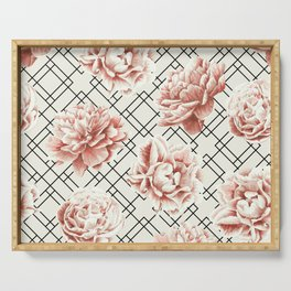 Simply Mod Diamond Roses in Cream and Black Serving Tray